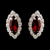 Silver Ruby & Clear Marquise Rhinestone Stud Earrings 0784