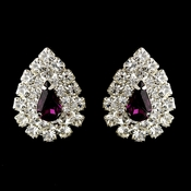 Silver Amethyst & Clear Teardrop Rhinestone Stud Earrings 1002