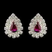 Silver Fuchsia & Clear Teardrop Rhinestone Stud Earrings 1002