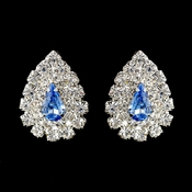 Silver Light Blue & Clear Teardrop Rhinestone Stud Earrings 1002