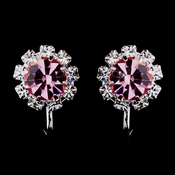 Silver Pink & Clear Round Rhinestone Clipped Stud Earrings 1442