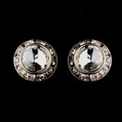 Gold Clear Rhinestone Rondelle Clipped Stud Earrings 4712