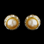 Gold Ivory Pearl & Clear Rhinestone Rondelle Clipped Stud Earrings 4712