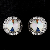 Silver AB Rhinestone Rondelle Clipped Stud Earrings 4712