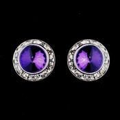 Silver Amethyst Rhinestone Rondelle Clipped Stud Earrings 4712