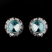 Silver Aqua Rhinestone Rondelle Clipped Stud Earrings 4712