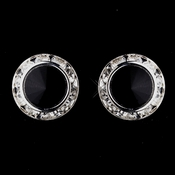 Silver Black Rhinestone Rondelle Clipped Stud Earrings 4712