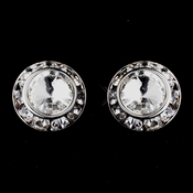 Silver Clear Rhinestone Rondelle Clipped Stud Earrings 4712
