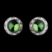 Silver Emerald Rhinestone Rondelle Pierced Stud Earrings 4712