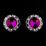 Silver Fuchsia Rhinestone Rondelle Clipped Stud Earrings 4712