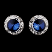 Silver Navy Rhinestone Rondelle Clipped Stud Earrings 4712
