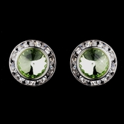 Silver Peridot Rhinestone Rondelle Clipped Stud Earrings 4712