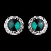 Silver Teal Rhinestone Rondelle Clipped Stud Earrings 4712