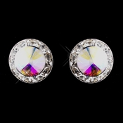 Silver AB Rhinestone Pierced Stud Button Earrings 4722