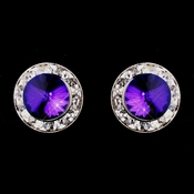 Silver Amethyst Rhinestone Pierced Stud Button Earrings 4722