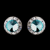 Silver Aqua Rhinestone Clipped Stud Button Earrings 4722