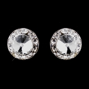 Silver Clear Rhinestone Pierced Stud Button Earrings 4722