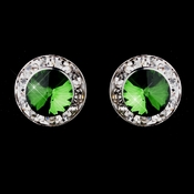 Silver Emerald Rhinestone Clipped Stud Button Earrings 4722