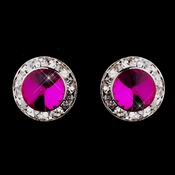 Silver Fuchsia Rhinestone Clipped Stud Button Earrings 4722