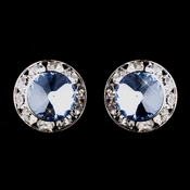 Silver Light Blue Rhinestone Clipped Stud Button Earrings 4722