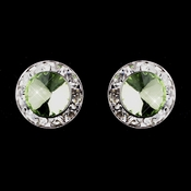 Silver Peridot Rhinestone Clipped Stud Button Earrings 4722