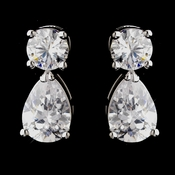 Silver Clear Teardrop Stud Earrings 6015
