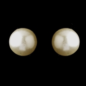 Gold Ivory Pearl Pierced Stud Earrings 6042