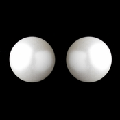 Silver White Pearl Pierced Stud Earrings 6072
