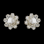 Silver White Glass Pearl & Clear Rhinestone Stud Earrings 7202
