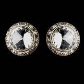 Gold Clear Round Rhinestone Rondelle Stud Pierced Earrings 9932