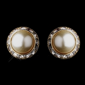 Gold Ivory Pearls & Clear Round Rhinestone Rondelle Stud Clipped Earrings 9932