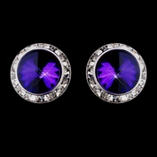 Silver Amethyst Round Rhinestone Rondelle Stud Pierced Earrings 9932