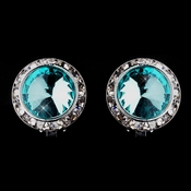Silver Aqua Round Rhinestone Rondelle Stud Clipped Earrings 9932