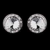 Silver Clear Round Rhinestone Rondelle Stud Pierced Earrings 9932