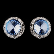 Silver Light Blue Round Rhinestone Rondelle Stud Pierced Earrings 9932