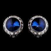 Silver Navy Round Rhinestone Rondelle Stud Pierced Earrings 9932