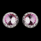 Silver Pink Round Rhinestone Rondelle Stud Clipped Earrings 9932