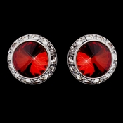 Silver Red Round Rhinestone Rondelle Stud Pierced Earrings 9932