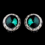 Silver Teal Round Rhinestone Rondelle Stud Clipped Earrings 9932