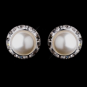 Silver White Pearl & Clear Round Rhinestone Rondelle Stud Pierced Earrings 9932