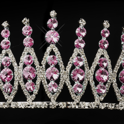 Silver Pink Rhinestone Pageant Tiara Headpiece 245***Discontinued***