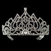 Majestic Crystal Rhinestone Pageant Crown Tiara in Silver or Gold 6092