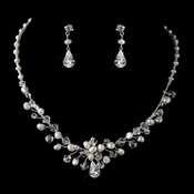 Silver Clear Crystal Rhinestone and Ivory Freshwater Pearl Necklace & Earrings Jewelry Set 9672