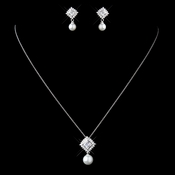 Sterling Silver CZ Crystal & White Pearl Square Necklace & Earrings Jewelry Set 9987