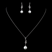 Solid 925 Sterling Silver CZ Crystal & Diamond White Pearl Necklace & Earrings Set 9988