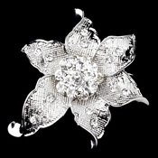 Antique Silver Clear Rhinestone Flower Brooch 223