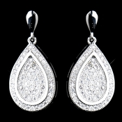 Antique Silver Clear CZ Crystal Dangle Earrings 9965