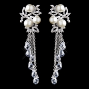 Silver Diamond White Pearl & Clear Crystal Bead Dangle Earrings 9004