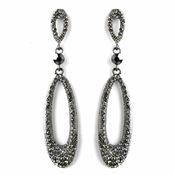 Hematite Smoked Rhinestone Dangle Earrings 8943