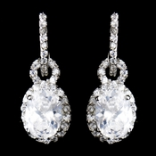 Antique Rhodium Silver Clear CZ Crystal Oval Drop Earrings 8577